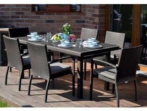 Ratanový zahradní nábytek jídelní set Korsika choco pro 6