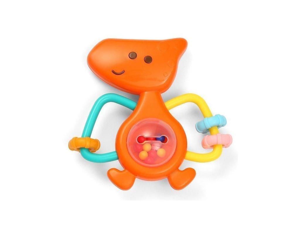 BabyOno chrastítko Dino Park oranžové