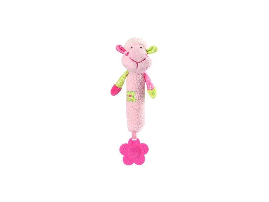 Baby Ono plyšová hračka s pískátkem a kousátkem Sweet Lambie růžová