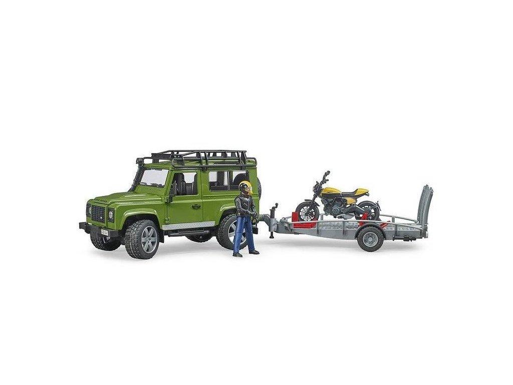 Bruder 2589 Land Rover s přepravníkem a motocyklem Ducati Scrambler Full Throttle