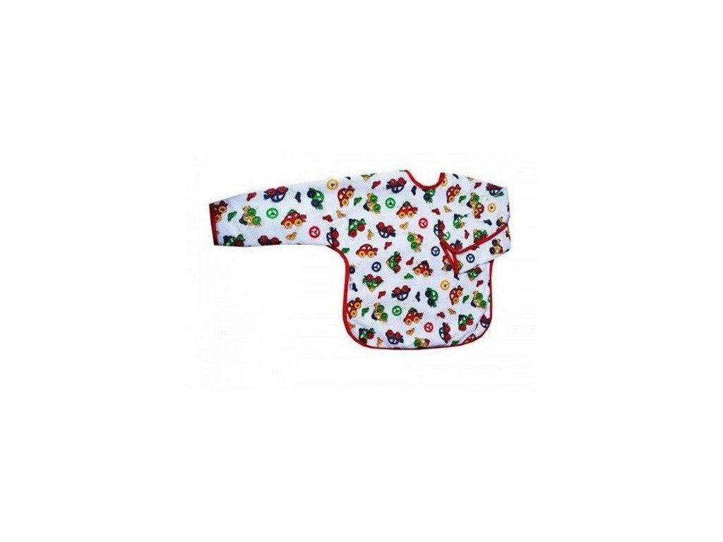 Akuku dětský bryndáček s rukávky a kapsičkou autíčka