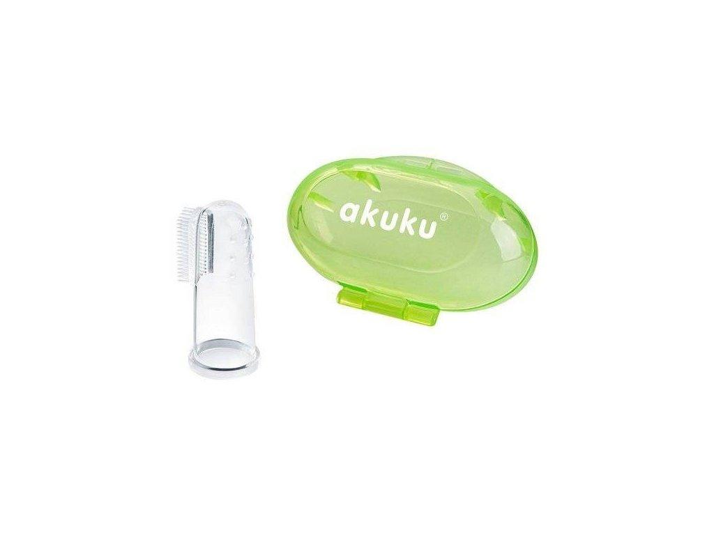 Akuku První zubní kartáček s pouzdrem zelený