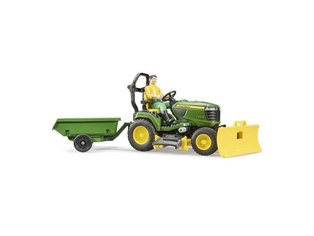 Bruder 62104 BWORLD Zahradní traktor John Deere X949 s figurkou a příslušenstvím