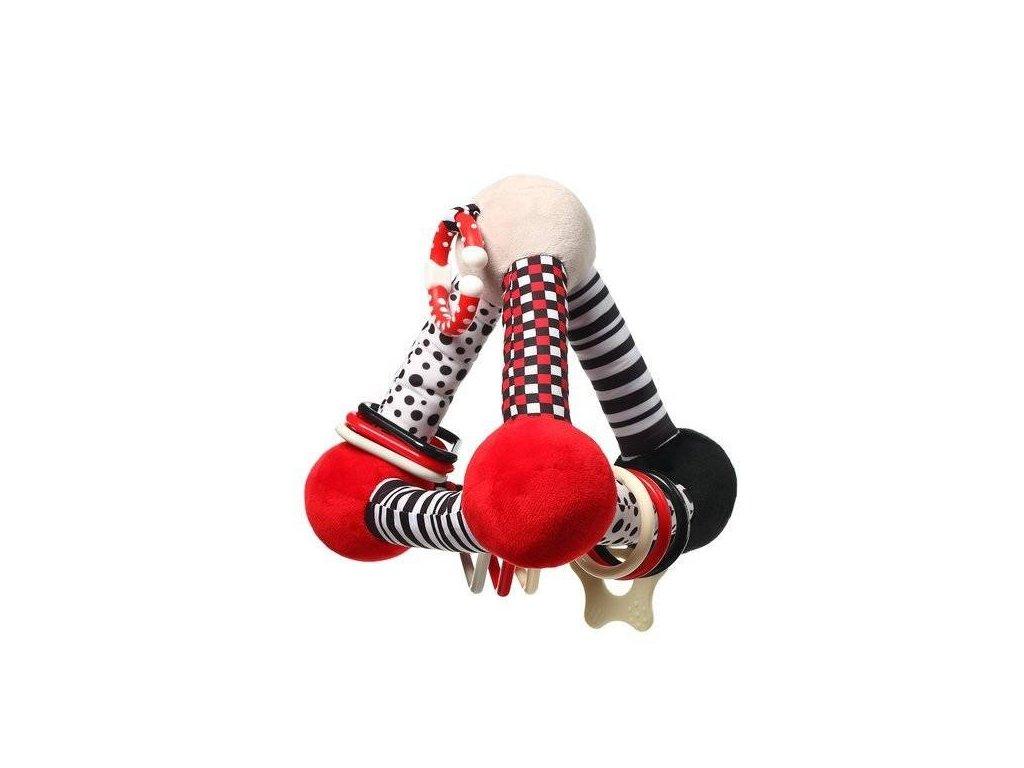 BabyOno plyšová edukační hračka Tiny Yoga Triangle C More Collection černá červená