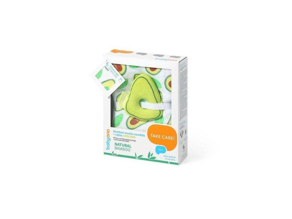 BabyOno Bambus/Mušelín avokado muchláček + chrastítko zelená/bílá