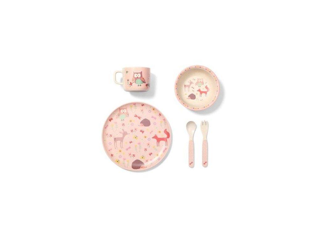 BabyOno bambusová sada dětského nádobí Sovička Forst Pink 12m+ 5 dílná