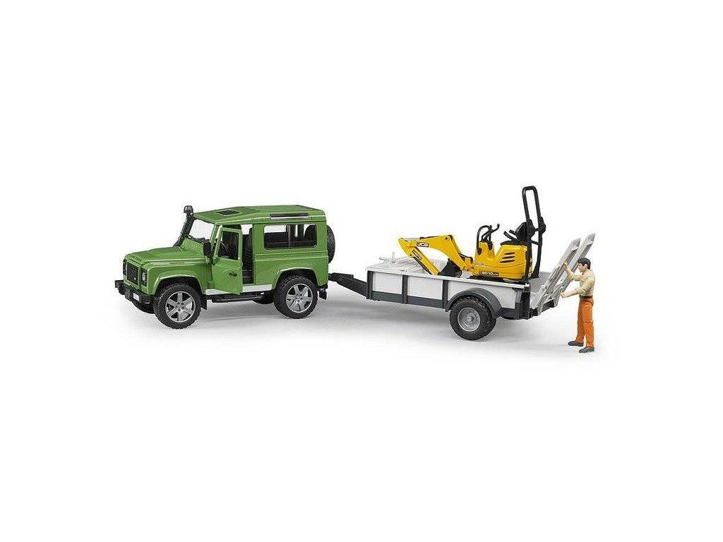BRUDER 02593 Auto Land Rover s přívěsem + JCB mikrobagr