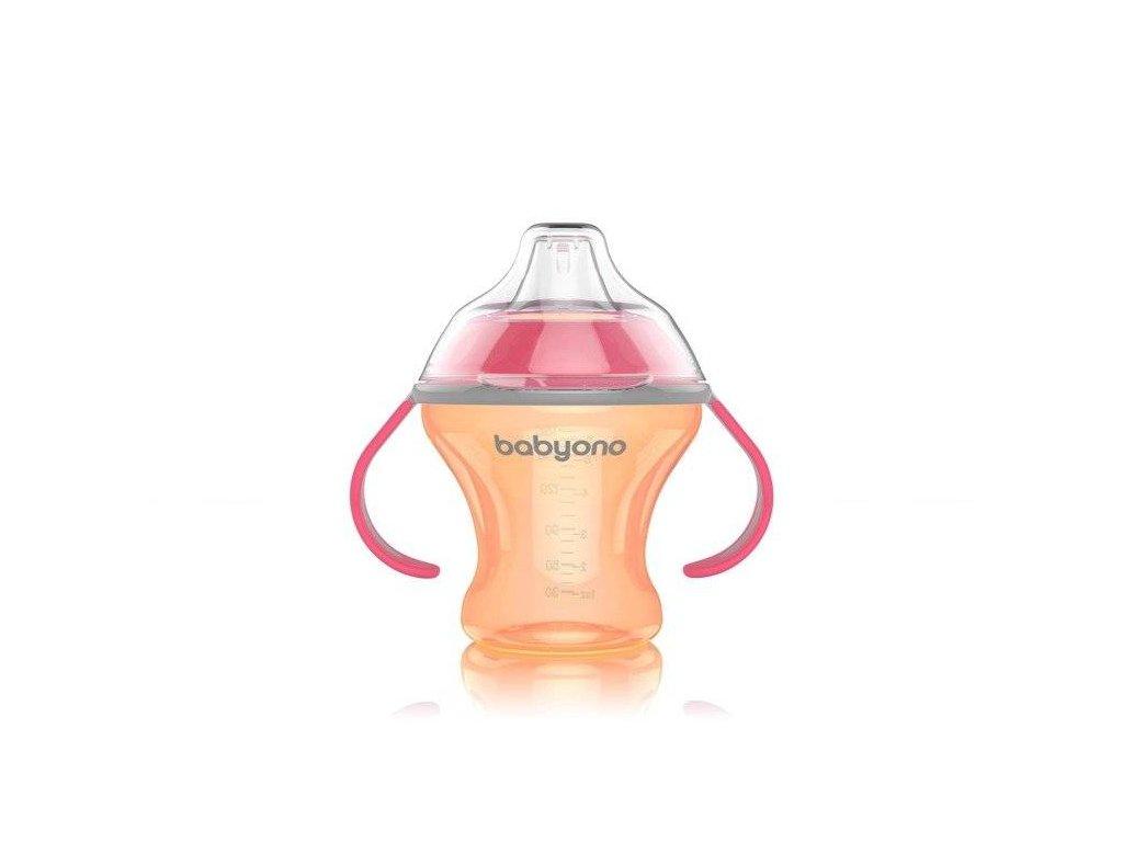 BabyOno hrníček netekoucí s měkkým náustkem Natural Nursing oranžová 180ml