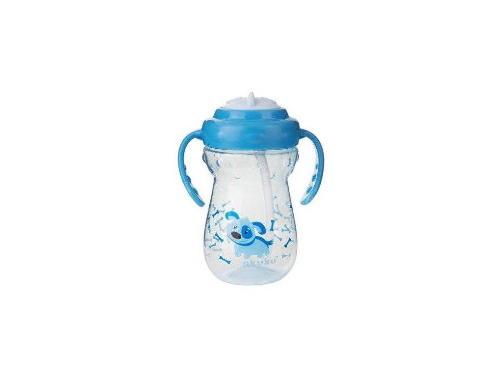 Akuku sportovní hrníček s brčkem modrý pejsek 360 ml