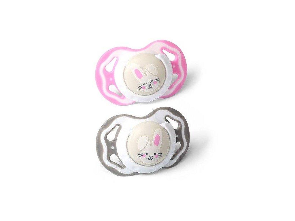 Baby Ono symetrický dudlík Králíčci růžová/šedá