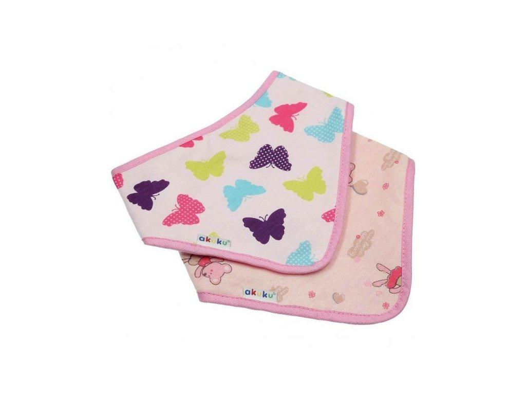Akuku A1465 multifunkční šátek/slintáček 2ks motýli a růžové puntíky
