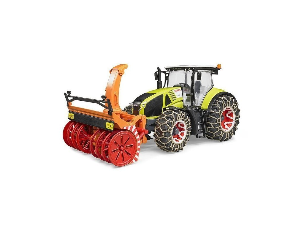 BRUDER 3017 Traktor Claas Axion 950 se sněhovými řetězy a frézou