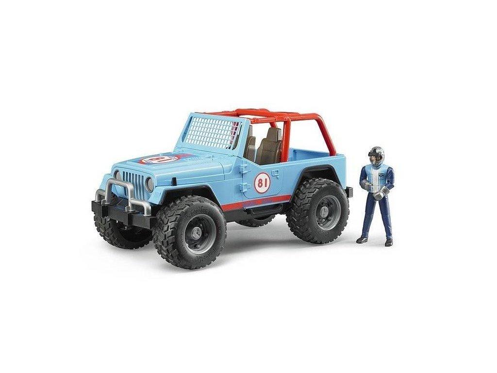Bruder 2541 Jeep WRANGLER Cross Country modrý s figurkou jezdce