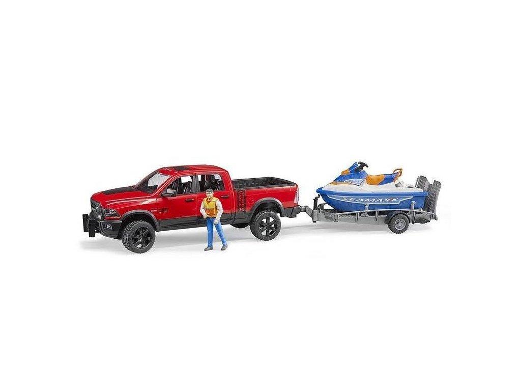 BRUDER 2503 Auto RAM s přívěsem s vodním skútrem a figurkou