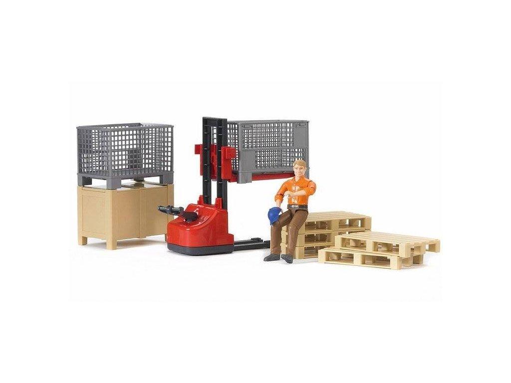 BRUDER 62200 Bworld Logistický set s figurkou Stavebního dělníka