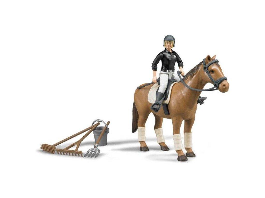 Bruder 62505 BWORLD Jezdecký set kůň žena a příslušenství