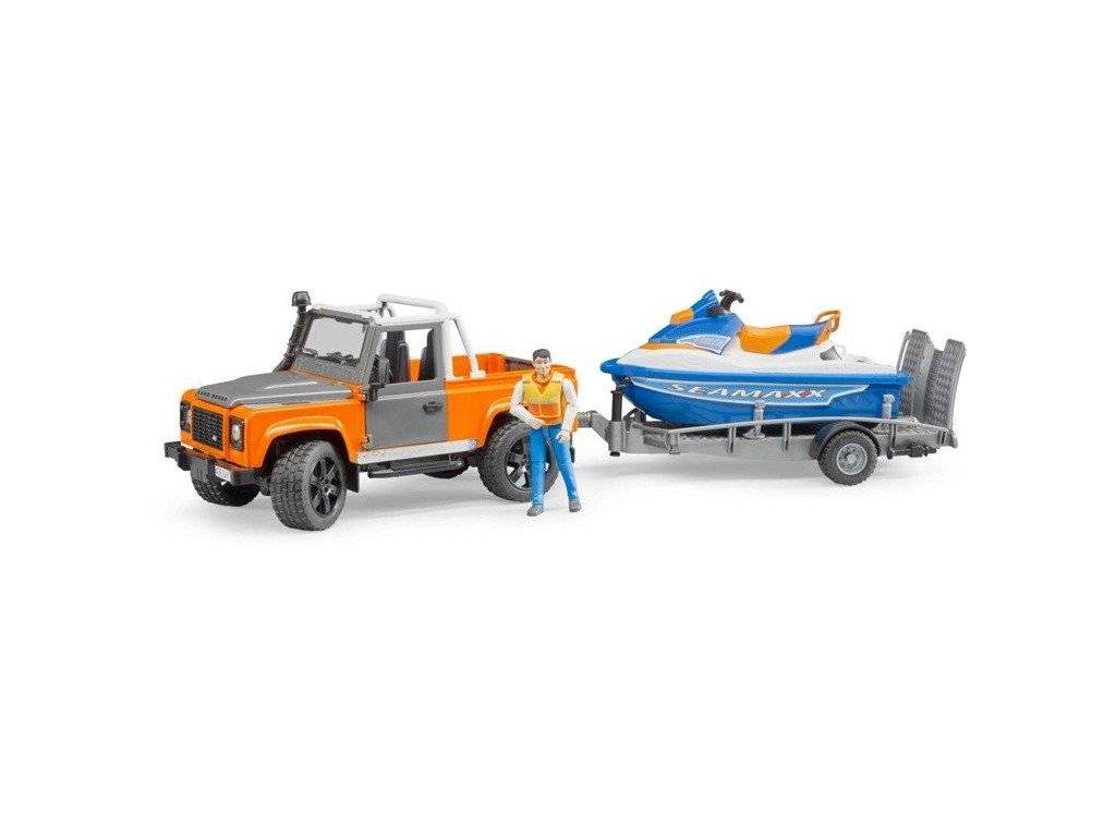 Bruder 2599 Land Rover s přívěsem vodním skútrem a jezdcem