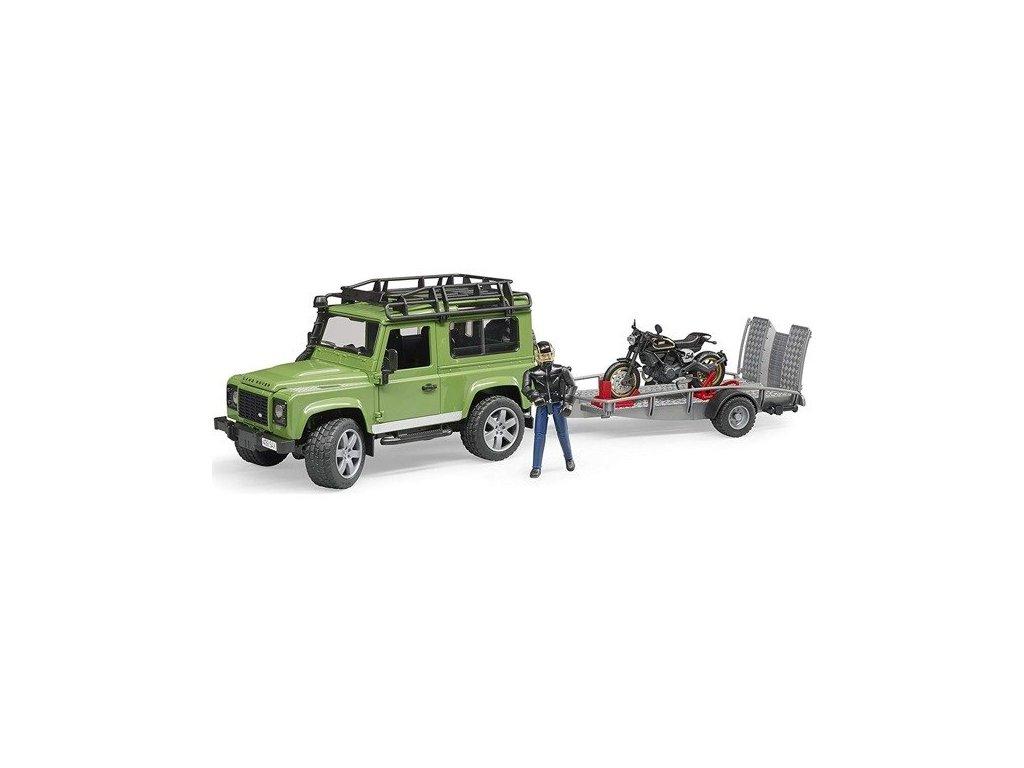 BRUDER 2598 Land Rover motocykl Scrambler Ducati Cafe Racer přepravník figurka