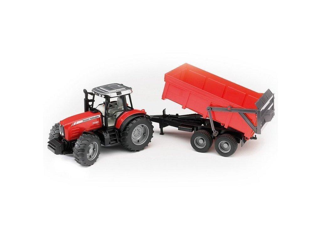 BRUDER 02045 Traktor MASSEY FERGUSON 7480 s valníkem