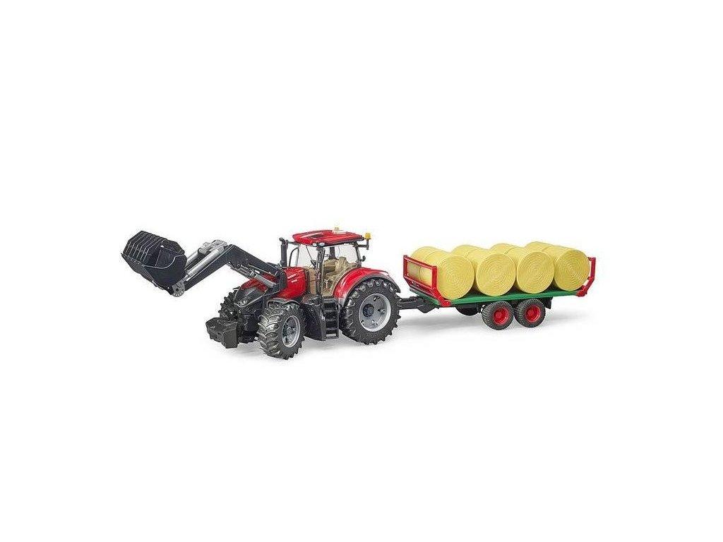 Bruder 3198 Traktor Case IH Optum 300 CVX s čelním nakladačem a přepravníkem na balíky