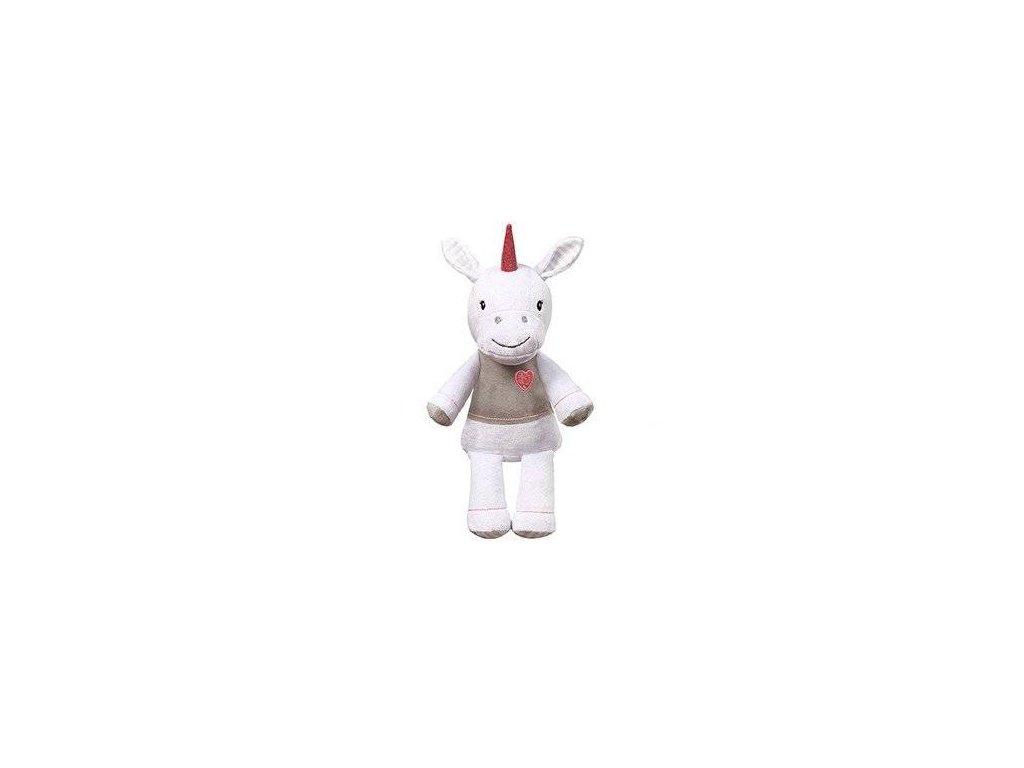 Baby Ono plyšová hračka s chrastítkem Jednorožec 30cm bílý