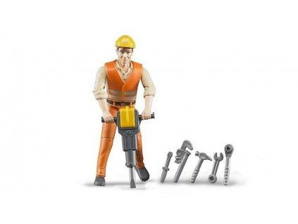 Bruder 60020 Bworld stavební dělník 11cm 6ks nářadí přilba
