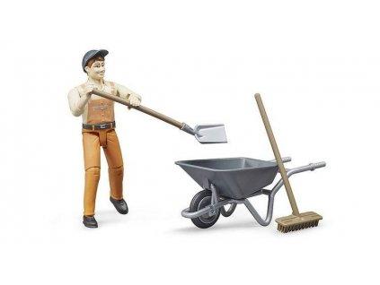 BRUDER 62130 komunální pracovník s kolečkem a nářadím