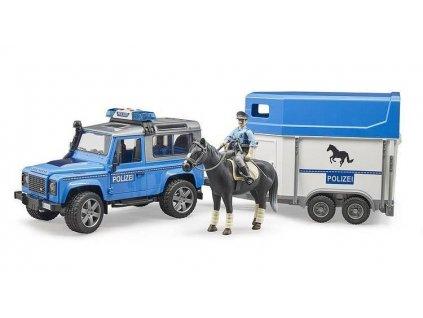 Bruder 02588 Land Rover Defender Policejní s přívěsem, koněm a policistou