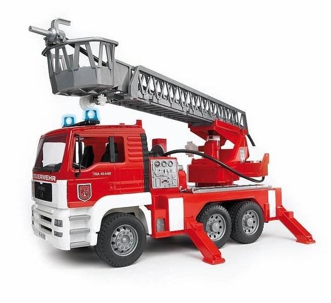 BRUDER 02771 Hasiči MAN - požární žebřík+maják+zvuk