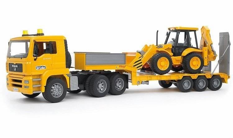 BRUDER 02776 Nákladní auto MAN - návěs + traktor JCB