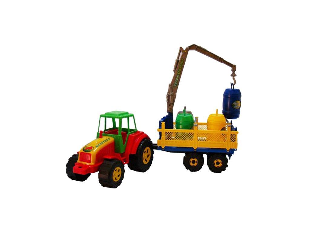 Plastový traktor Tytan s vlečkou a bečkami