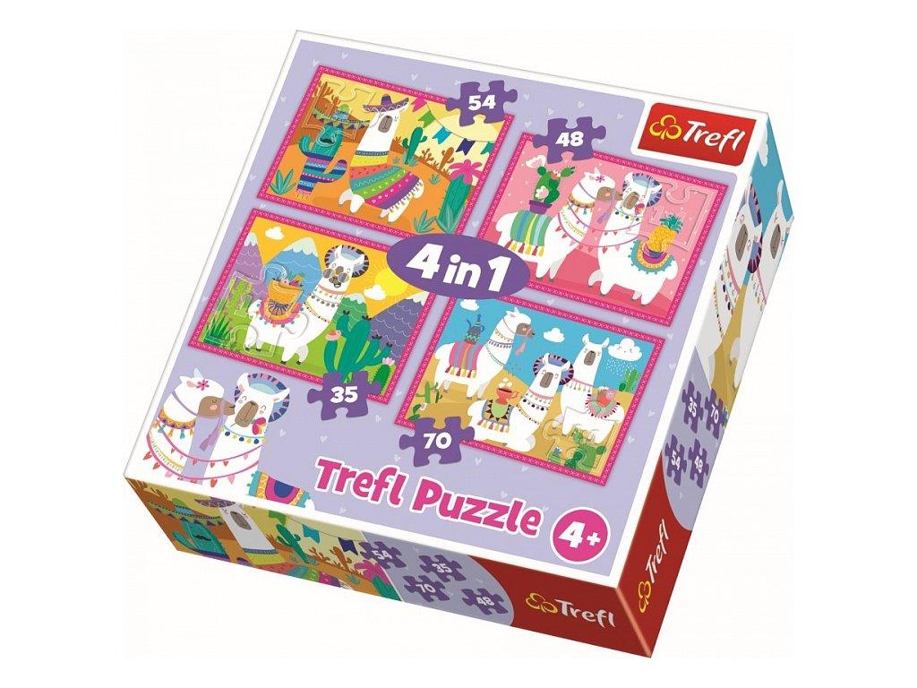 Puzzle Veselé lamy 4v1 (35,48,54,70 dílků)