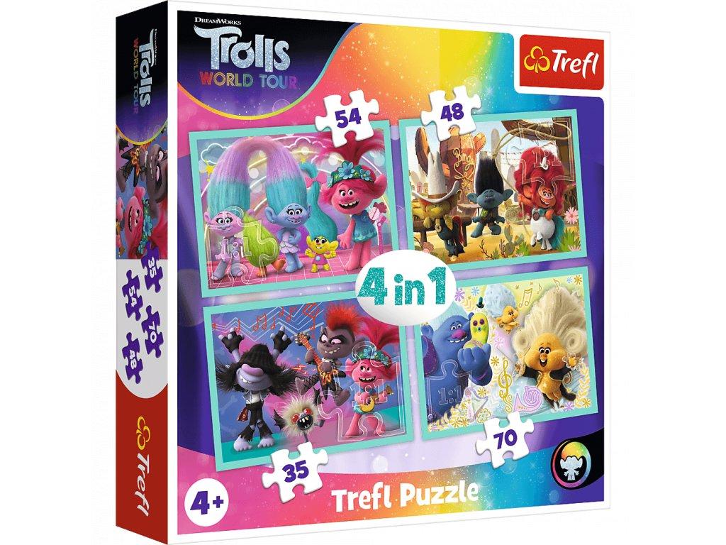 Puzzle Trollové 2 Světové turné 4v1 (35,48,54,70 dílků)