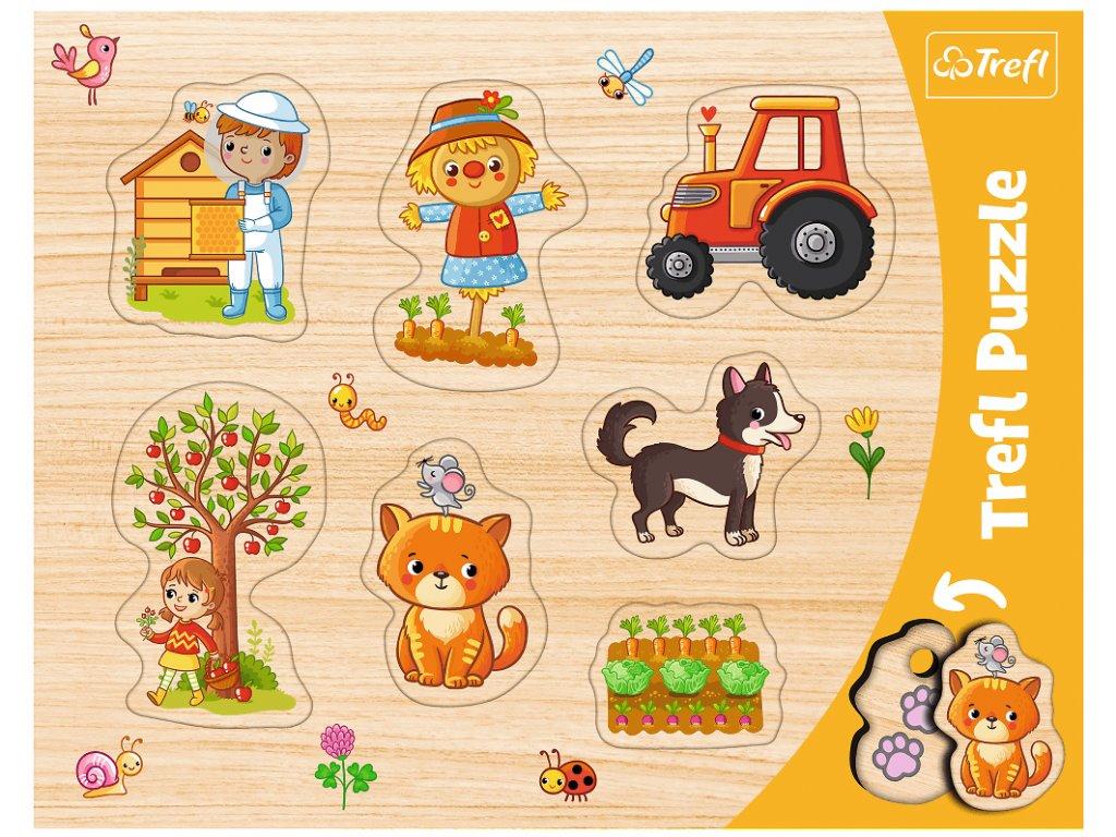 Vkládačka puzzle Farma 7 dílků