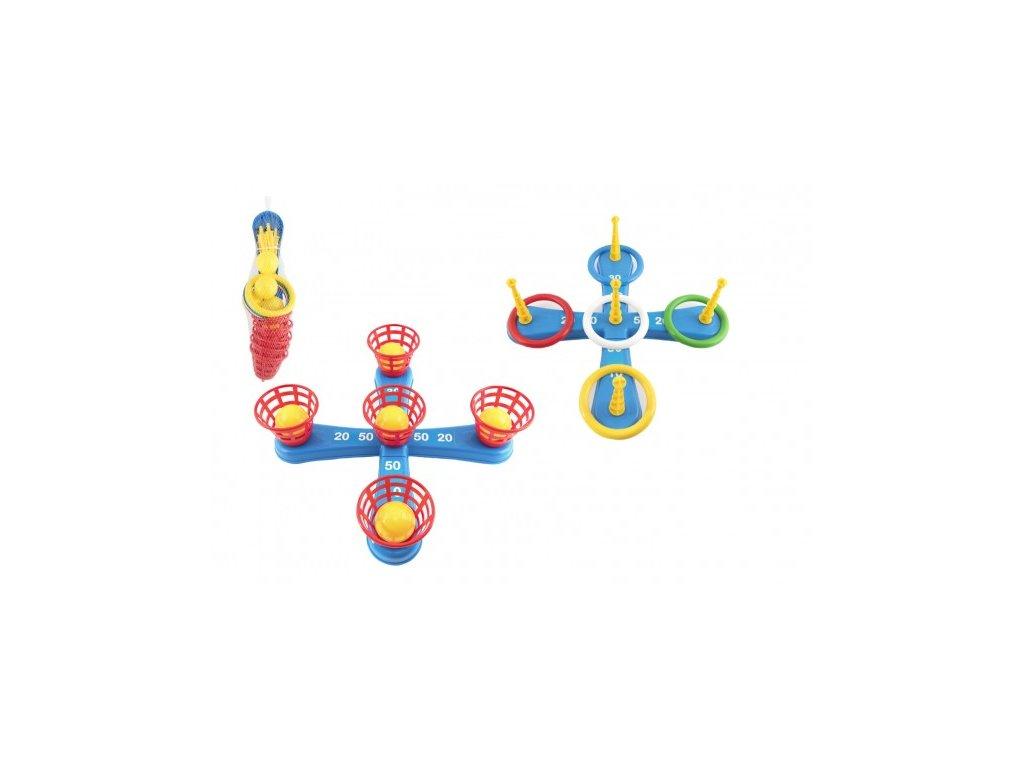 Házecí hra kříž s kruhy + košíčky s míčky