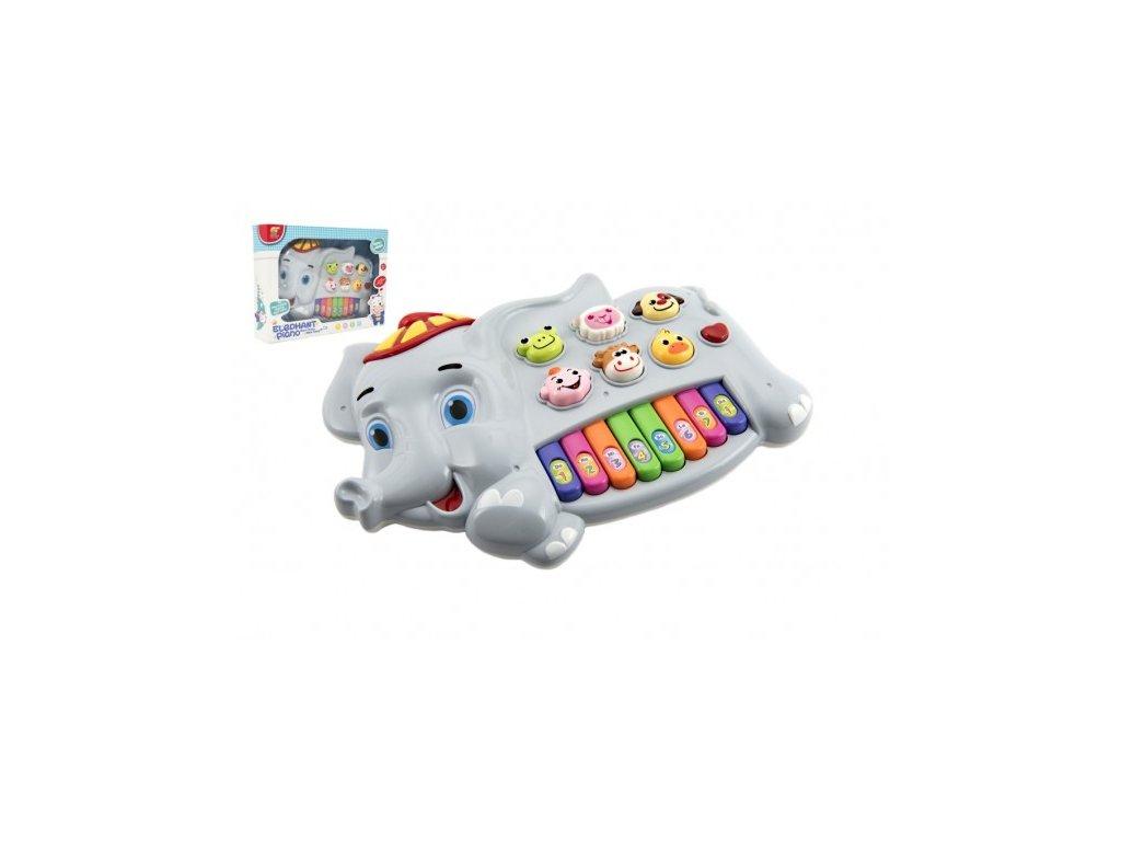 Piánko slon se zvířátky na baterie se zvukem