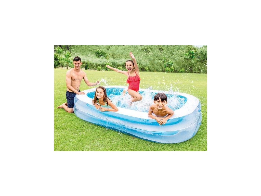 Dětský nafukovací bazén obdélník bílá/modrá