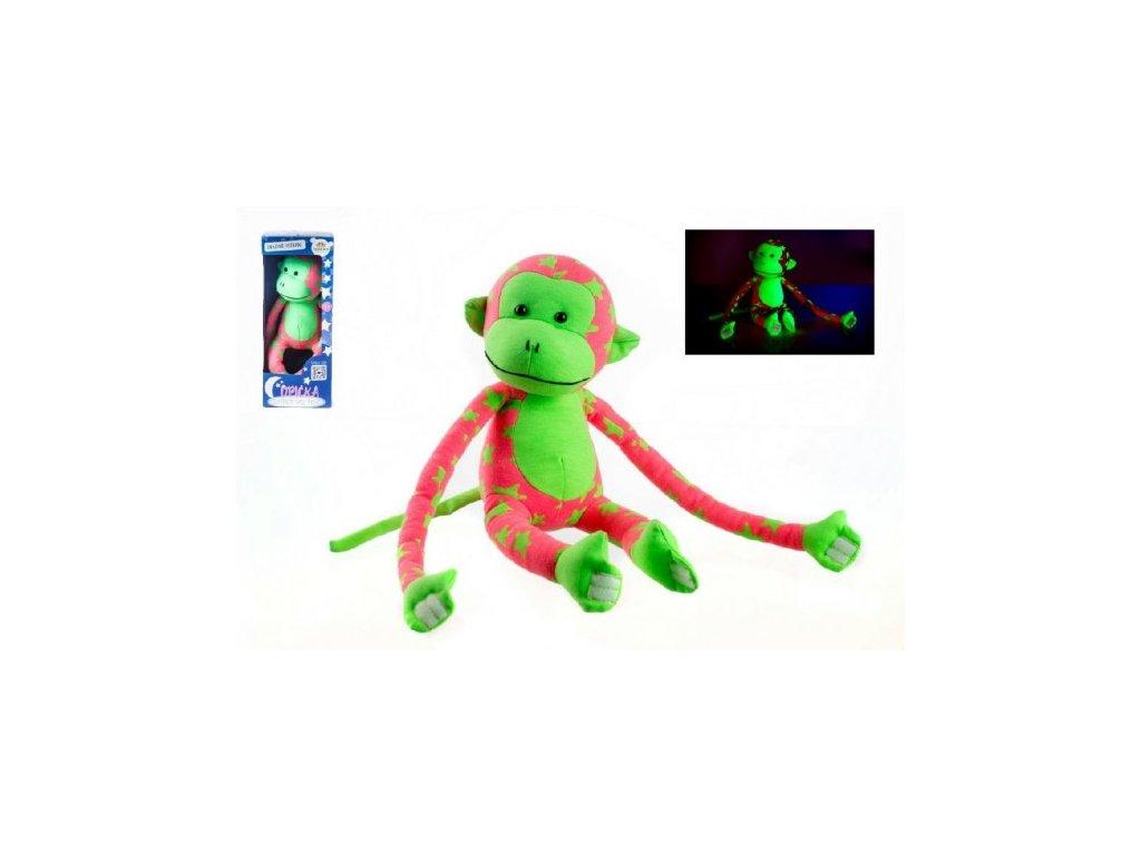 Opice svítící ve tmě růžová/zelená