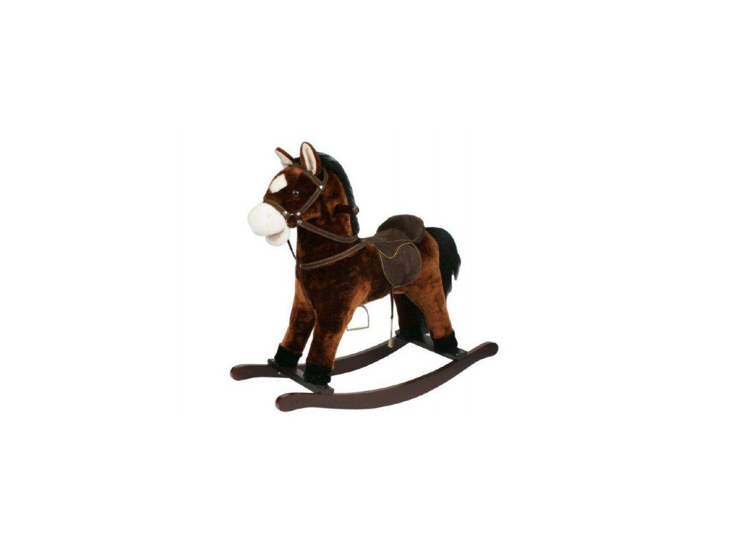 Kůň houpací hnědý plyš výška 71cm nosnost 50kg v krabici