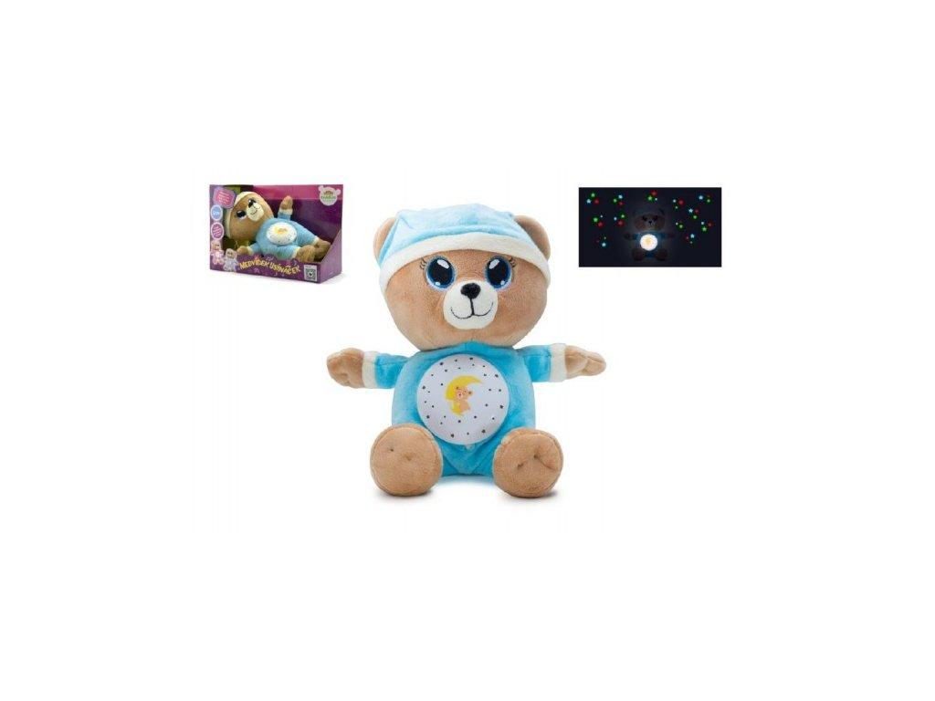 Medvídek Usínáček modrý  na baterie se světlem a zvukem