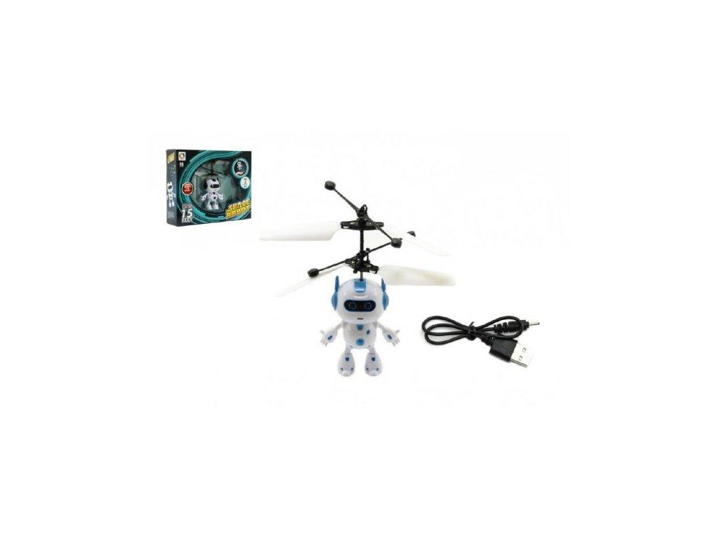 Vrtulníkový robot létající s USB kabelem na nabíjení svítící 2 barvy