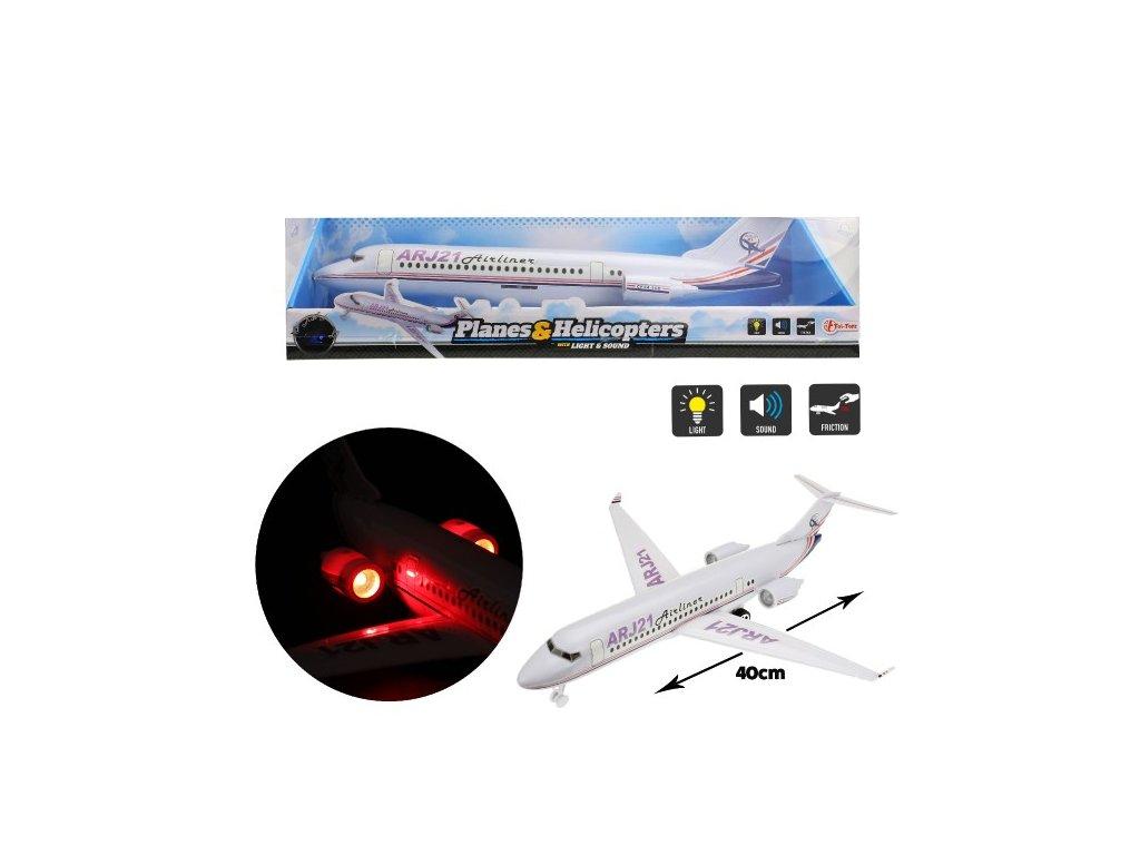 Plastové letadlo na setrvačník na baterie se zvukem a světlem