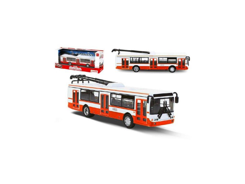 Trolejbus český kovový červený na zpětný chod CZ design