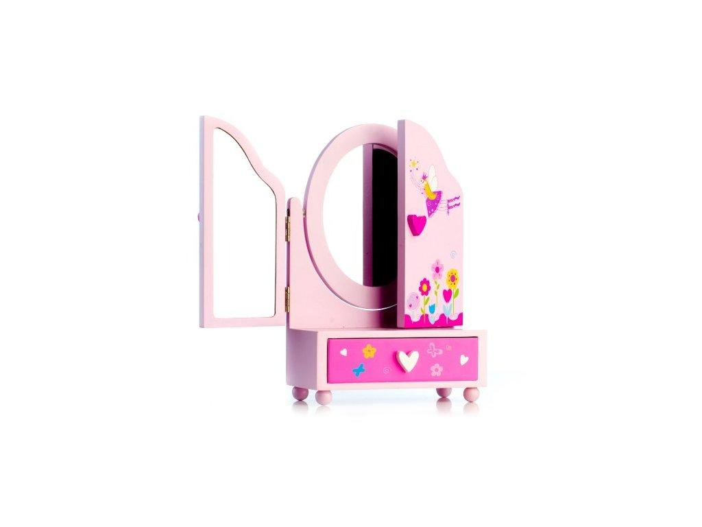 Zrcadlo šperkovnice Princess 3-dílná s zásuvkami