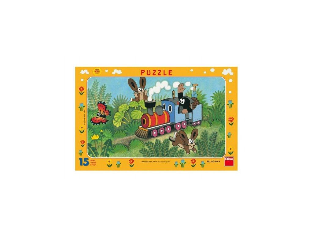 Puzzle deskové Krtek a lokomotiva 15 dílků