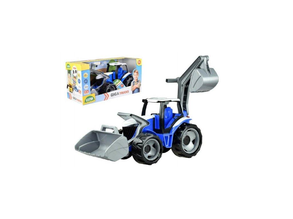 Traktor se lžící a bagrem modro-šedý