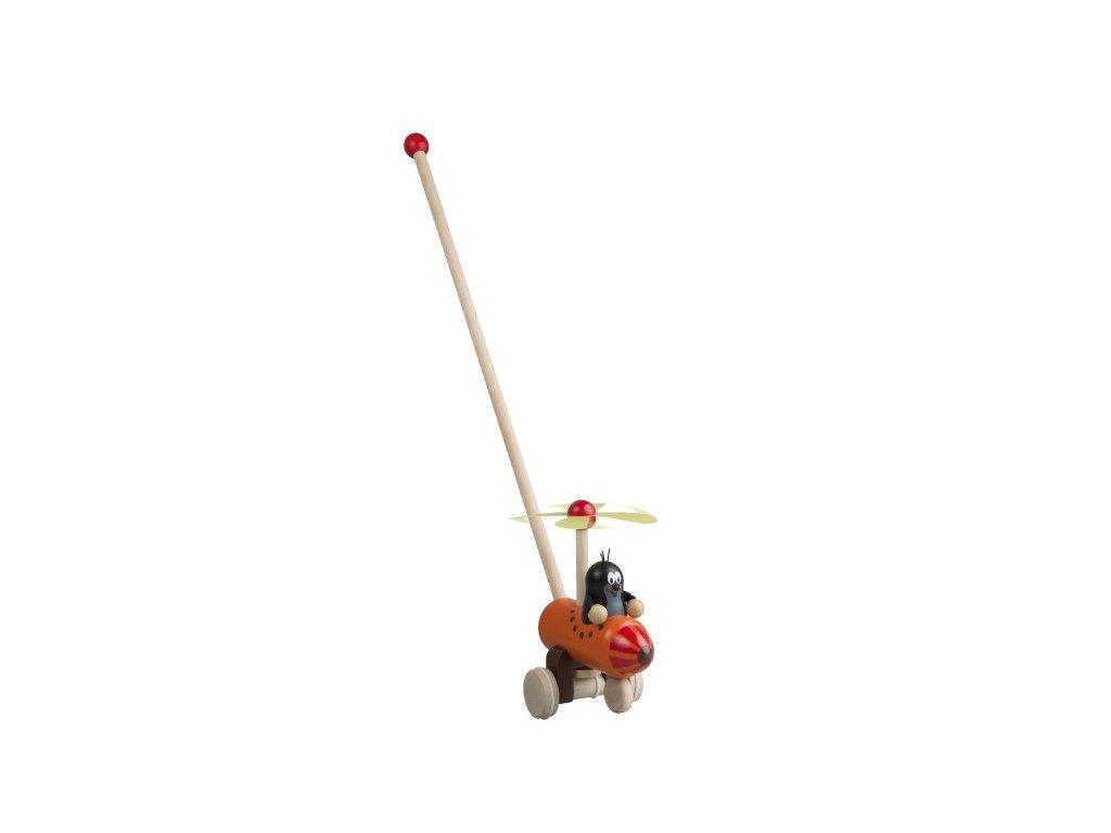 Dřevěné strkadlo Krtek a vrtulník tlačící s tyčkou