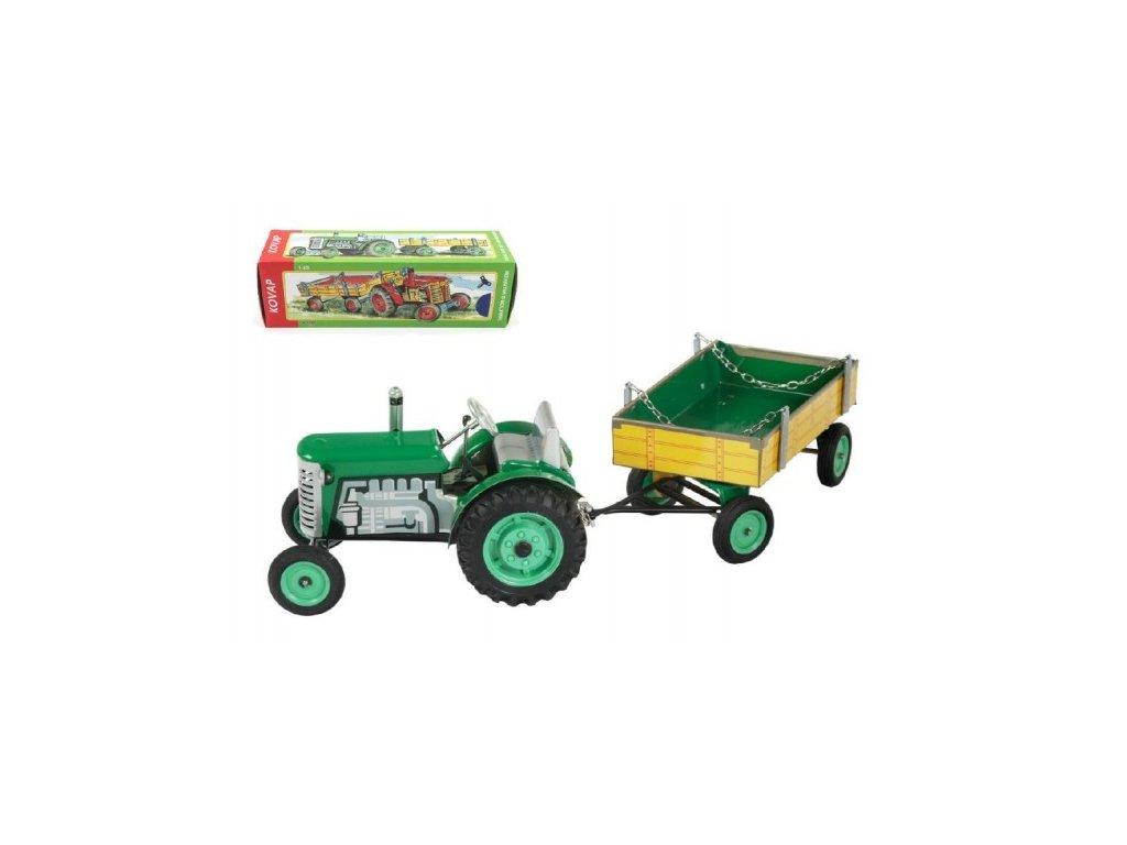 Traktor Zetor s valníkem zelený na klíček