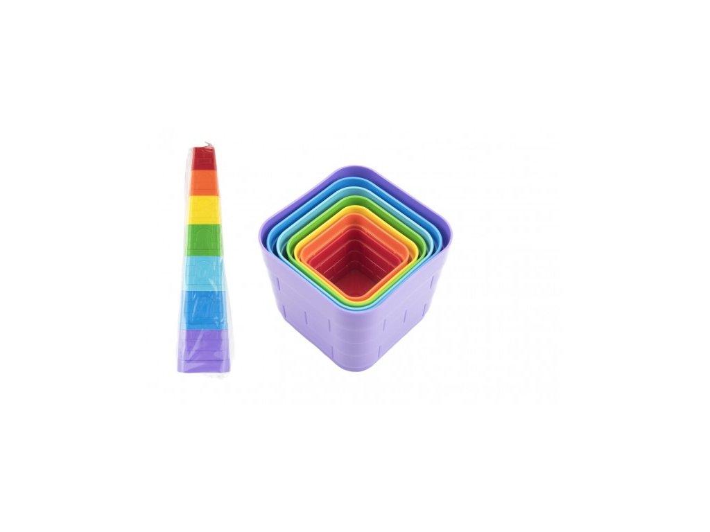 Kubus pyramida skládanka hranatá barevná 7ks