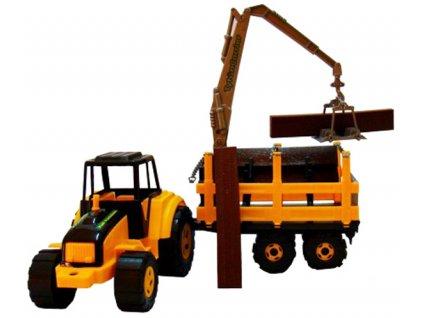 Traktor Tytan s vyvážečkou a dřevem